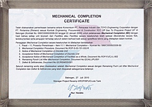 Toyo engineering notice toyo received the official mechanical consequently this mechanical completion certificate is proving its successful performance and to be a reliable engineering company to the clients yelopaper Gallery